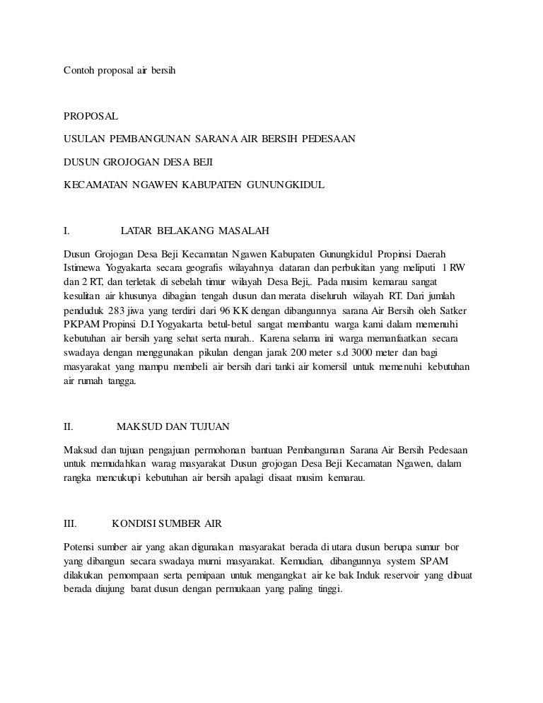 Contoh Proposal Air Bersih