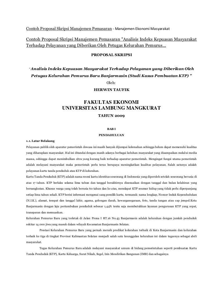 Contoh Proposal Skripsi Manajemen Pemasaran Analisis Manajemen Ekonom