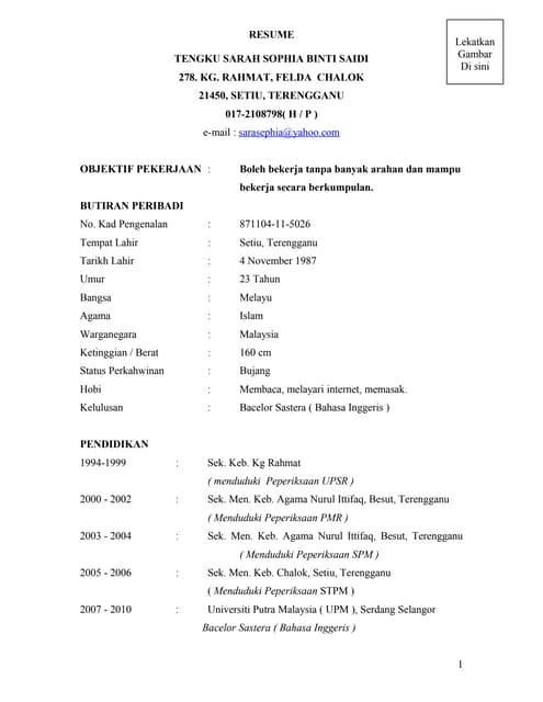Contoh Resume Dalam Bahasa Melayu
