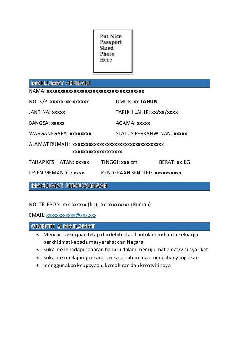 format resume dalam bahasa melayu - People.davidjoel.co