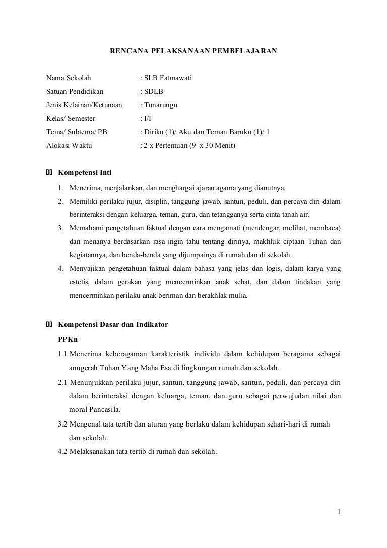 RPP Kelas 1 SDLB Tuna Rungu