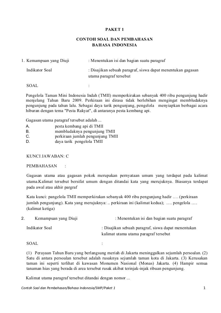 Latihan Soal Ujian Nasional Bahasa Indonesia Guru Ilmu Sosial
