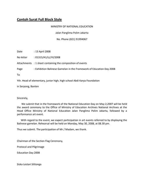 Contoh Surat Dalam Bahasa Inggris