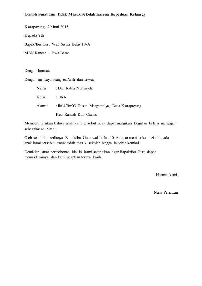 Contoh Surat Izin Sekolah Singkat