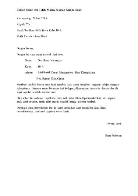 Contoh Surat Izin Tidak Masuk Sekolah Karena Keperluan Keluarga