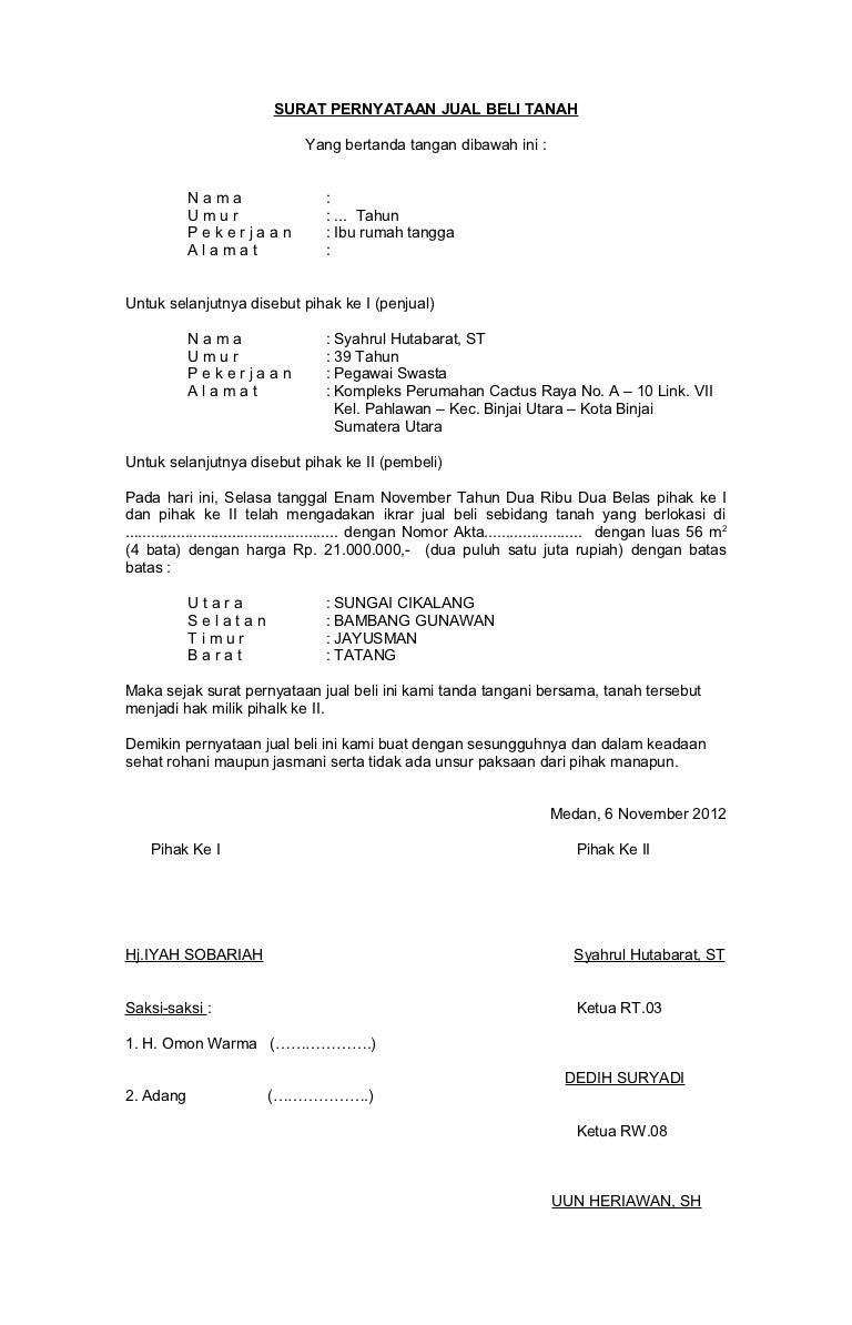 Contoh Surat Kuasa Penjualan Tanah Warisan - Contoh ...