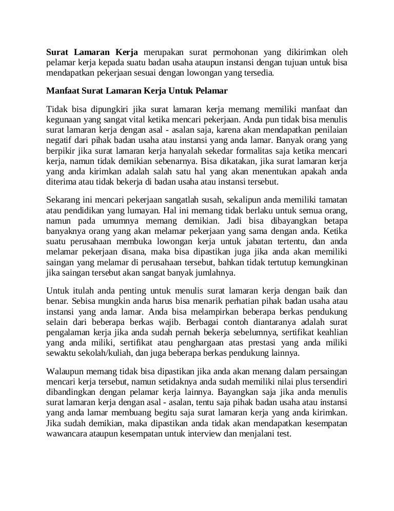 Contoh Surat Lamaran Kerja Dan Manfaatnya Untuk Berbagai Pihak