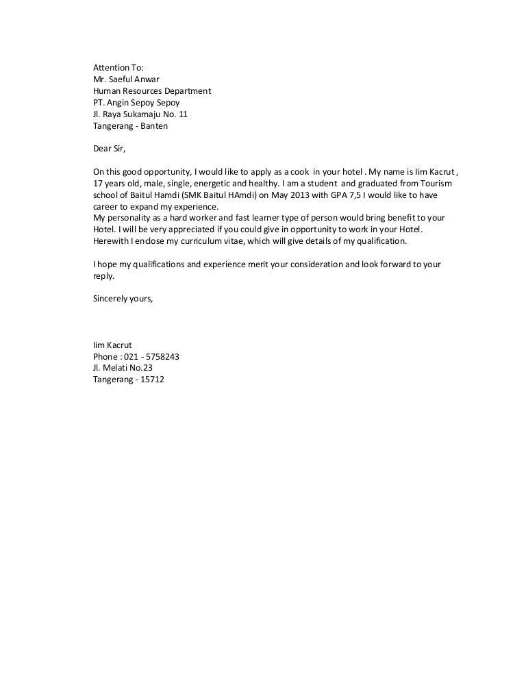 Contoh Surat Lamaran Kerja Bahasa Ingris Iim Smk Baitul Hamdi