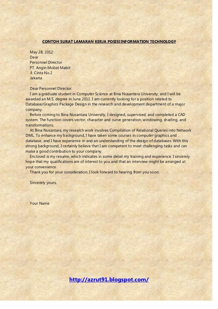 contoh surat lamaran kerja dalam bahasa inggris