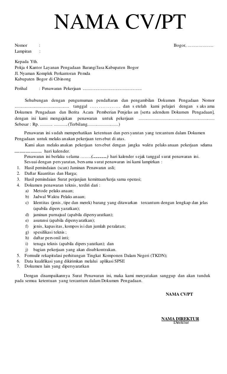 Contoh surat penawaran harga (sph)