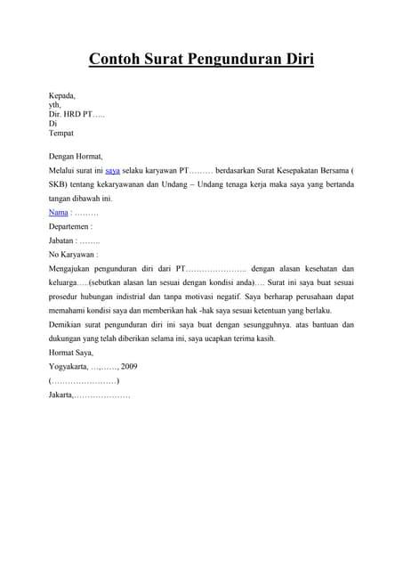 Contoh Surat Pengunduran Diri Anggota Bpd