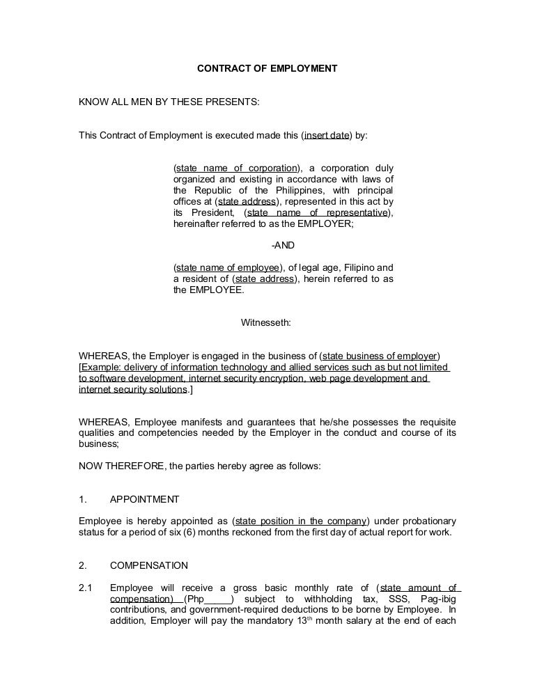 Contract Of Employment Probationary Employee