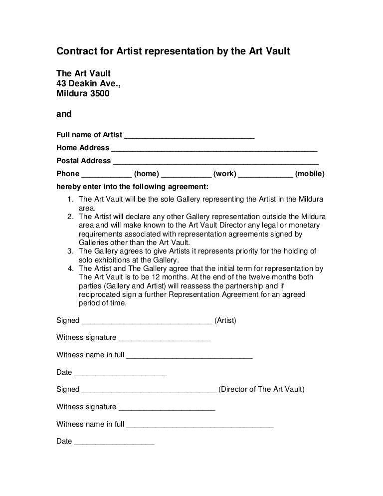 Contract For Artist Representation By The Art Vault The Art