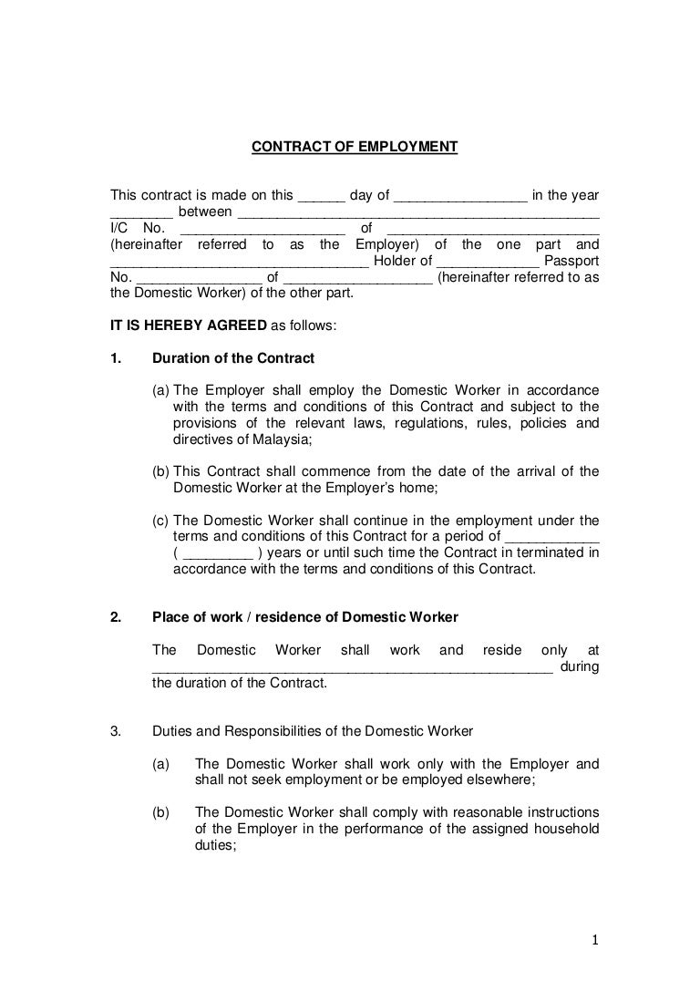 Contract of employment for Permanent contract of employment template