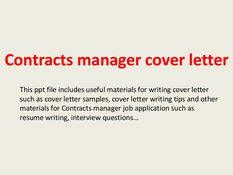 Contracts manager cover letter