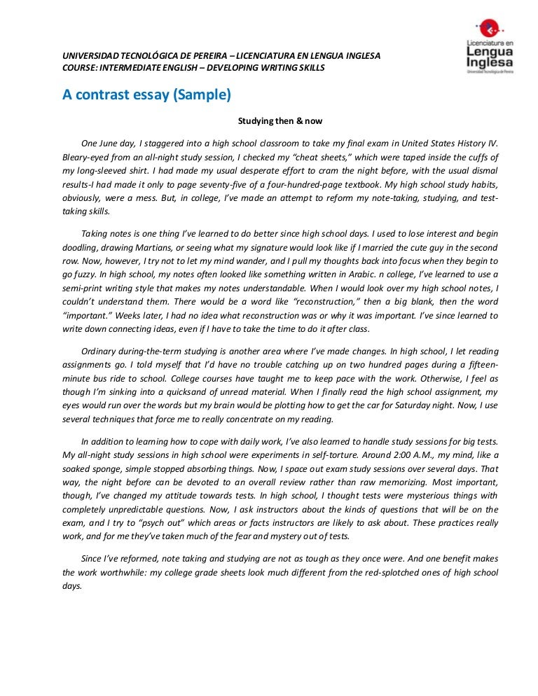compare and contrast high school and college essay