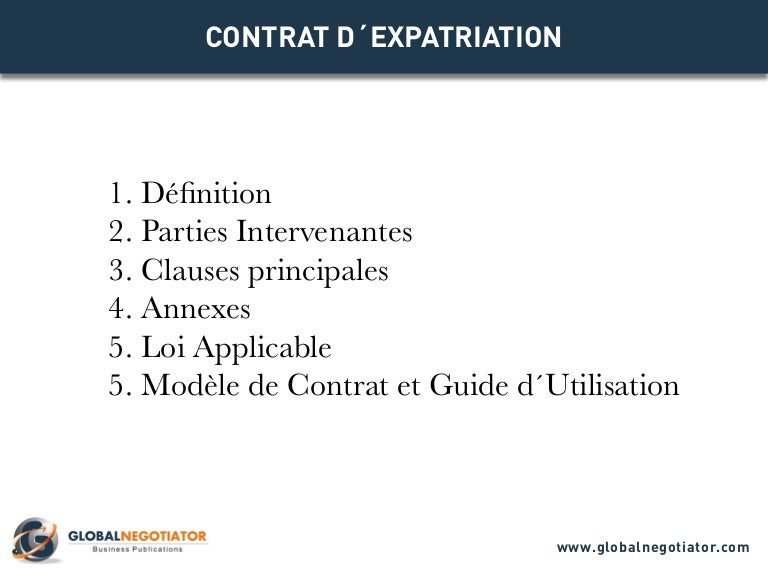 CONTRAT EXPATRIATION   Modèle et exemple
