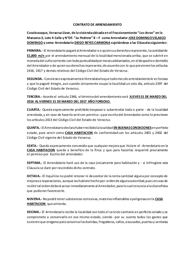 Contrato de arrendamiento acorde al codigo civil de veracruz for Modelo de contrato de alquiler
