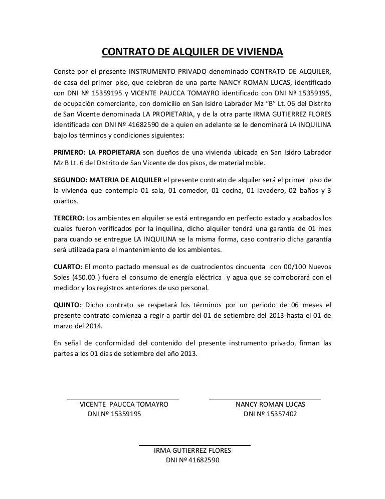 Contrato de alquiler de vivienda for Contrato documento
