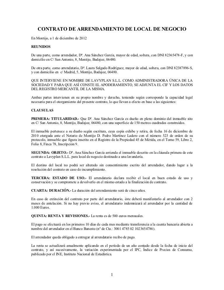 Contrato de arrendamiento de local de negocio for Modelo de contrato de alquiler