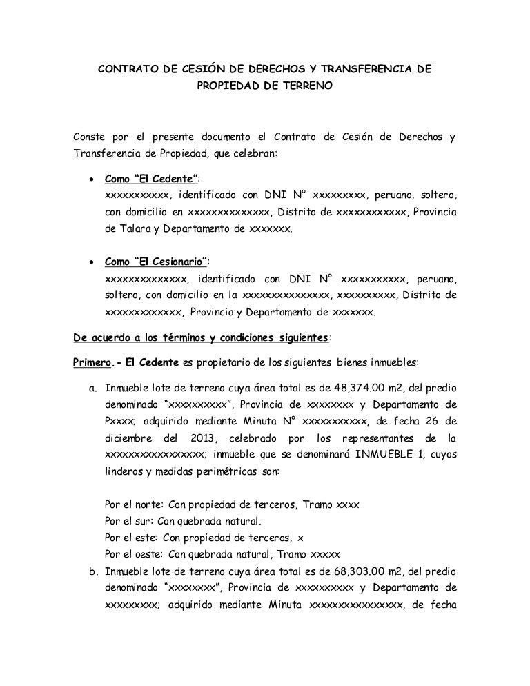 Contrato de cesi n de derechos y transferencia de propiedad - Cambio de pisos entre particulares ...