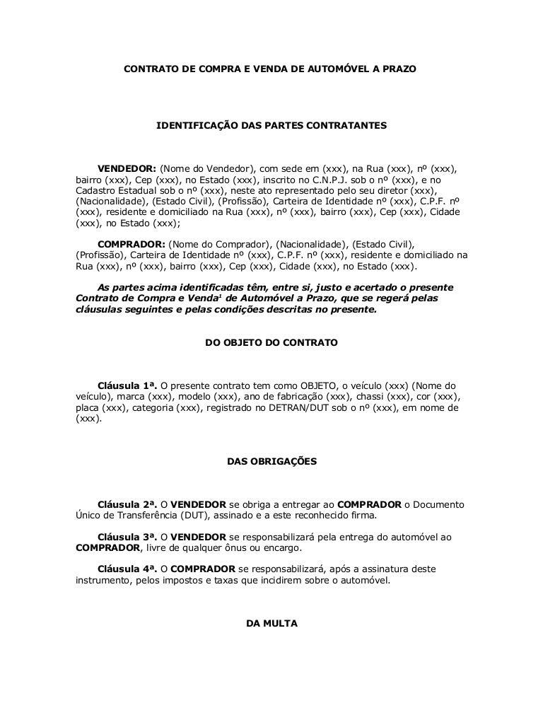 Contrato De Compra De Venda De Redação November 2019