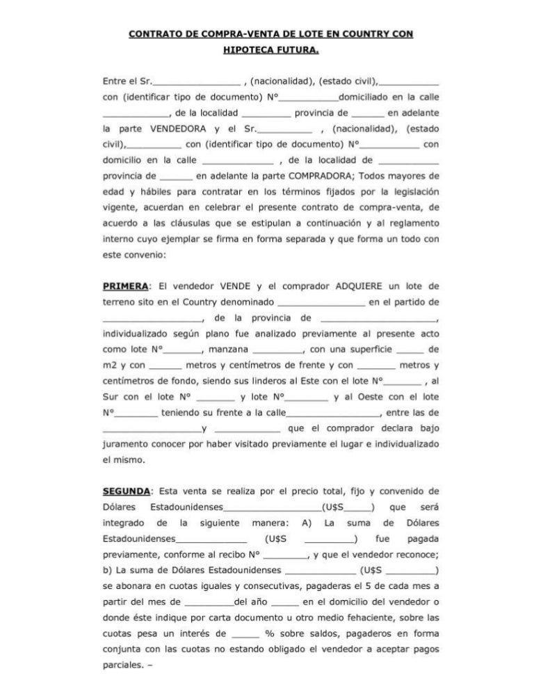 Ejemplo de contrato de compraventa for Contrato documento