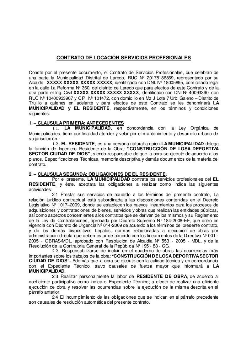 Contrato Del Ingeniero Residente Ejemplo