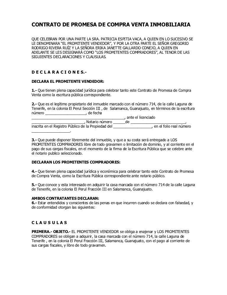 Contrato de promesa de compra venta inmobiliaria - Compra de casa ...