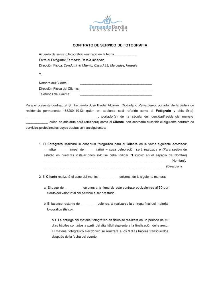 Contrato De Servico De Fotografia