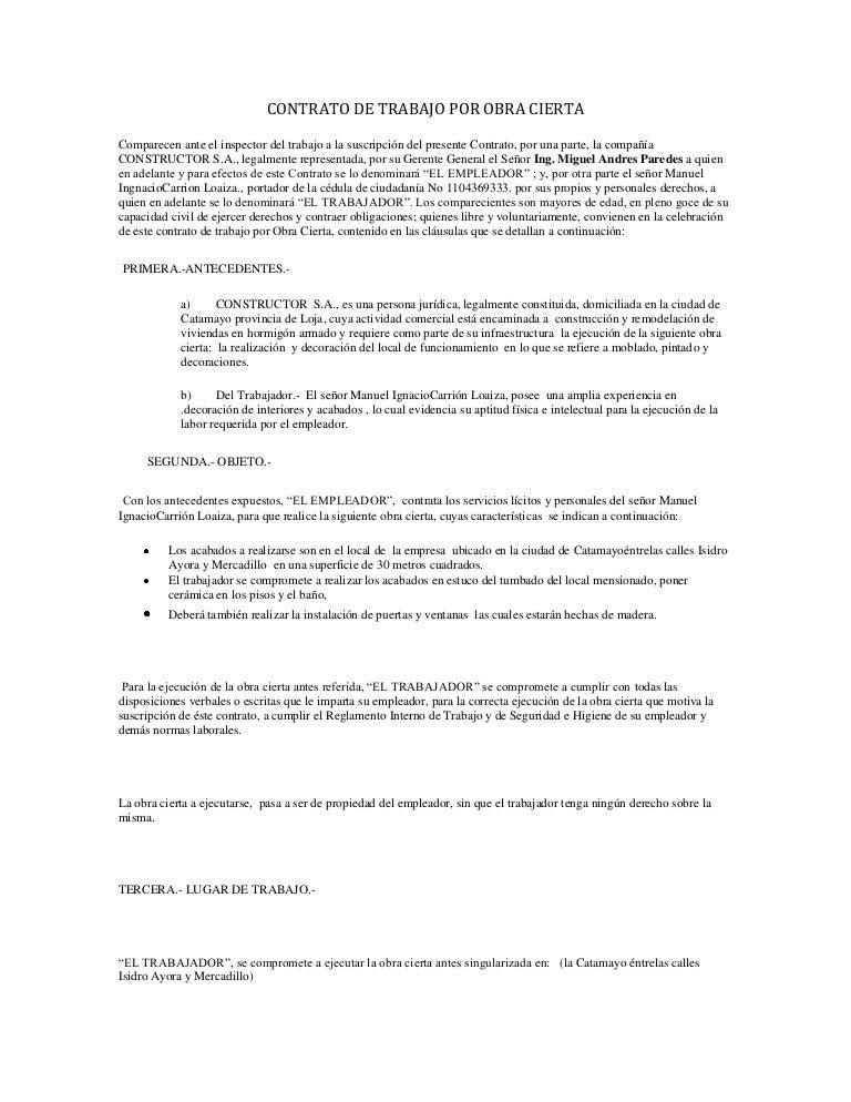 Contrato De Trabajo Por Obra Cierta