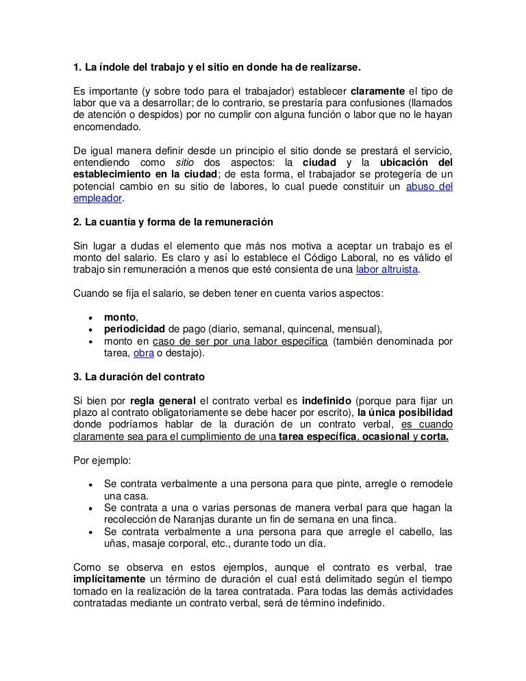 Contrato de trabajo verbal for Contrato trabajo