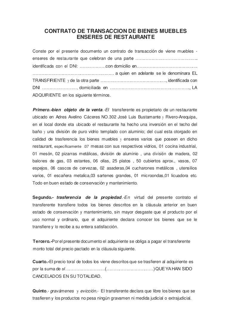 Bienes Muebles : Contrato de transaccion bienes muebles