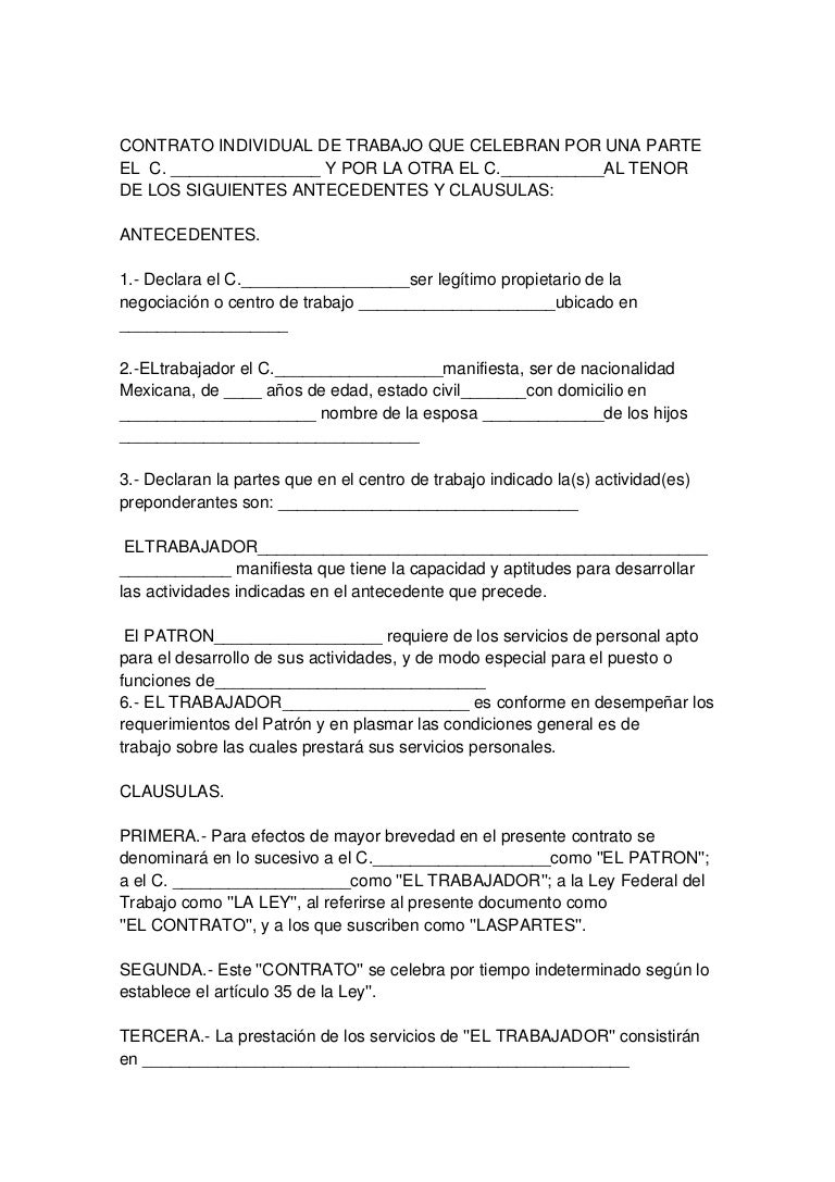Contrato individual 1 for Contrato documento