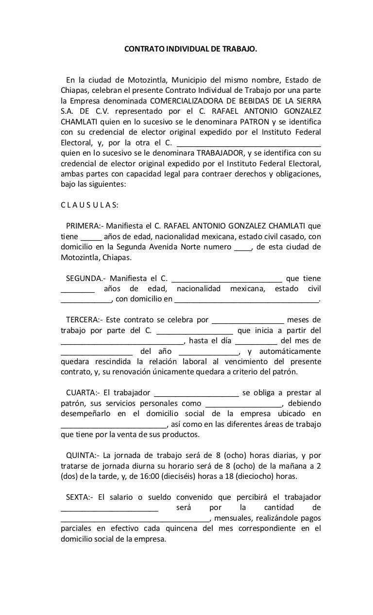 Contrato Individual De Trabajo Superior