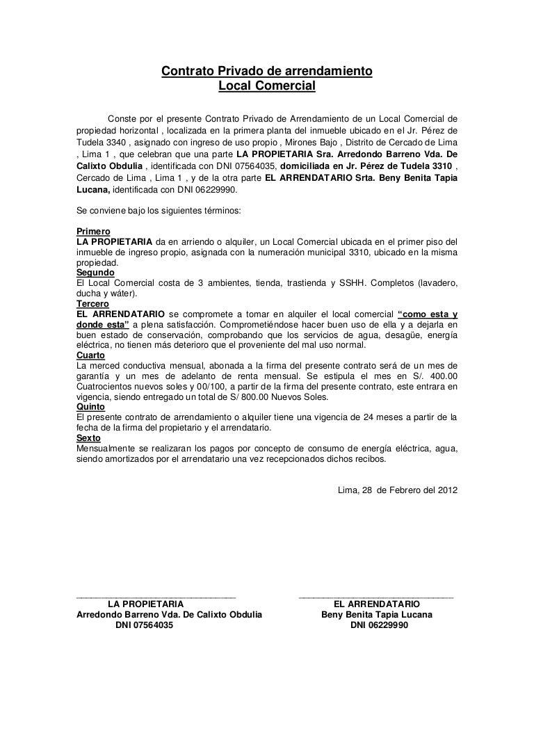 Contrato Privado De Arrendamiento