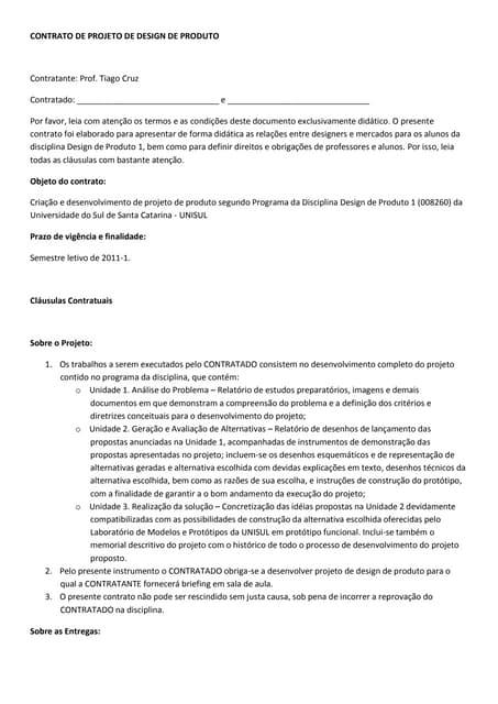 CONTRATO DE PROJETO DE DESIGN DE PRODUTO