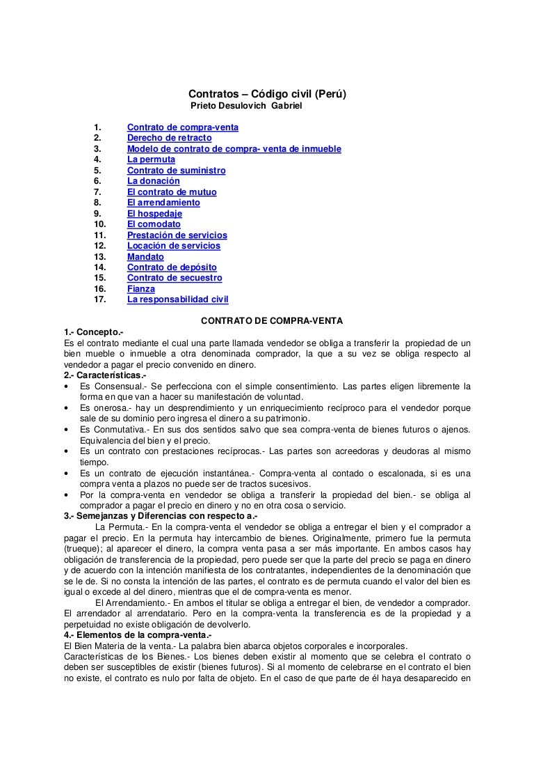 Contratos – código civil perú