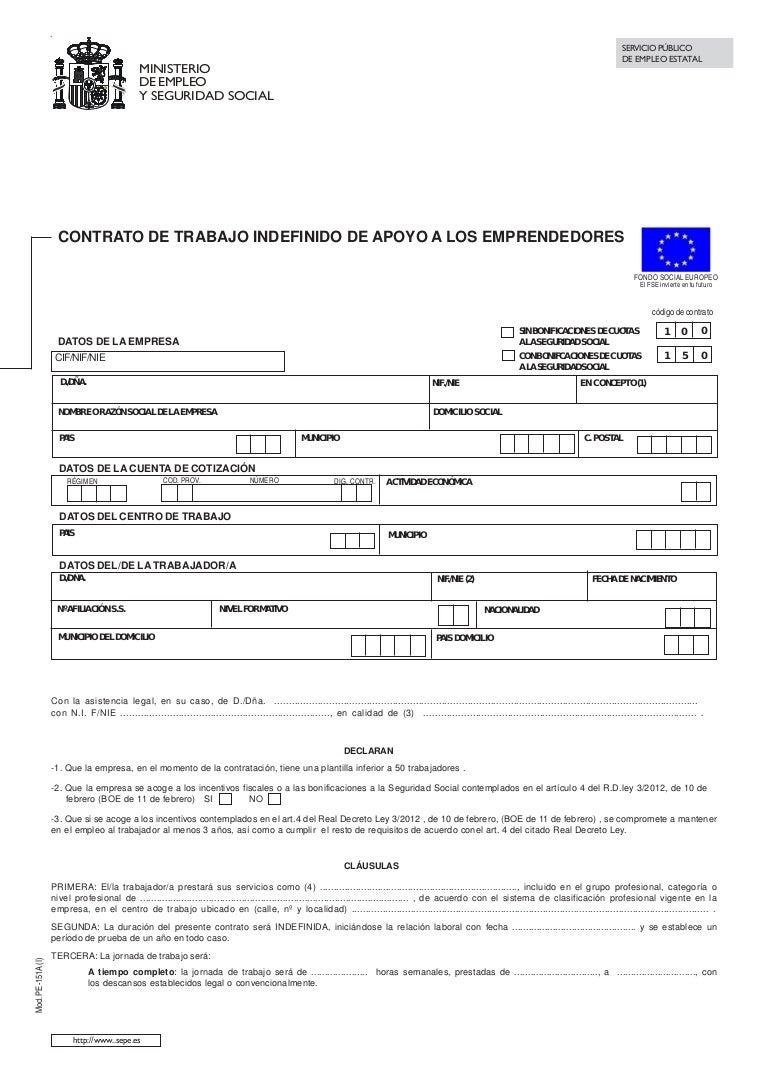 Contrato trabajo indefinido apoyo emprendedores for Modelo contrato empleada de hogar indefinido