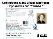 Contributing to the global commons: Repositories and Wikimedia