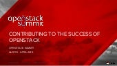 Contributing to the success of open stack