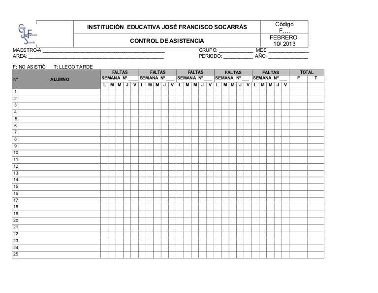 formato control de asistencia estudiantes