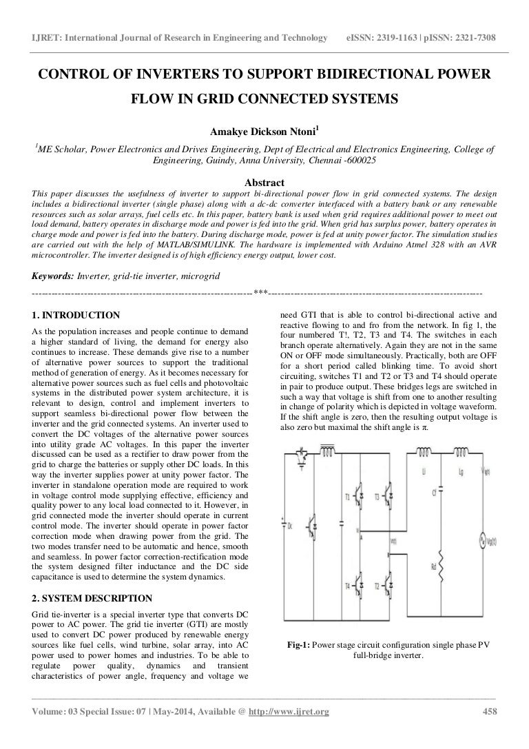 Control Of Inverters To Support Bidirectional Power Flow In Grid Conn Convert Dc Ac Circuit