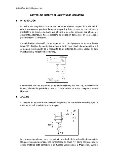 Control PID de un levitador magnético