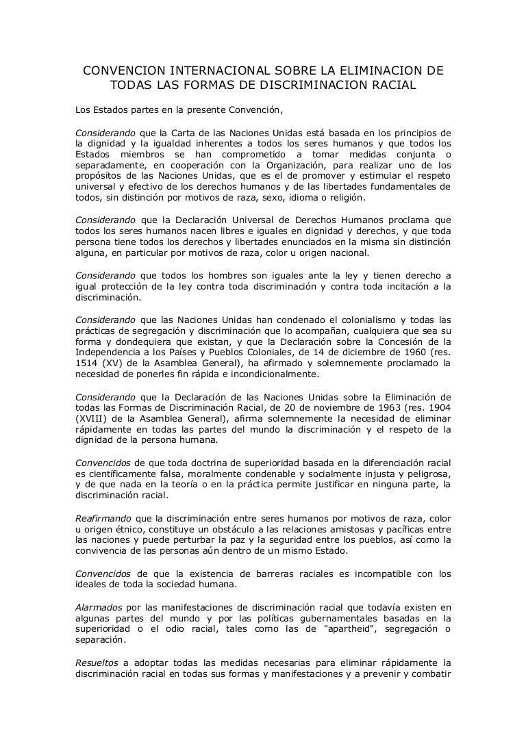 Convencion internacional sobre la eliminacion de todas las formas de …