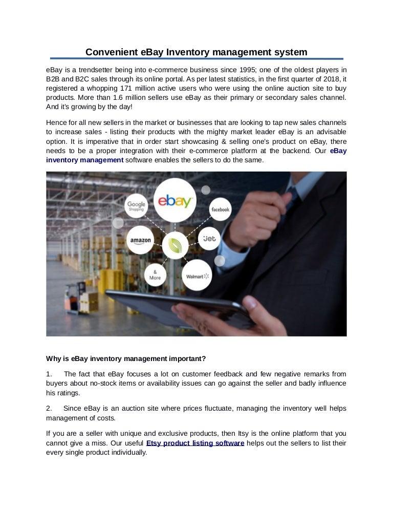 Convenient E Bay Inventory Management System