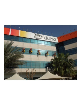 Rope access window cleaning project at Dubai Outsource Zone