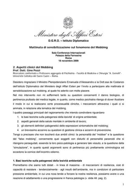 Aspetti clinici del Mobbing - Prof. Dott. Gino Pozzi