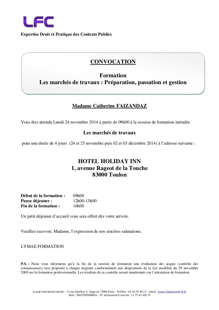 lettre convocation formation professionnelle