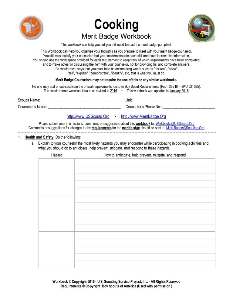 Cooking – Personal Management Merit Badge Worksheet